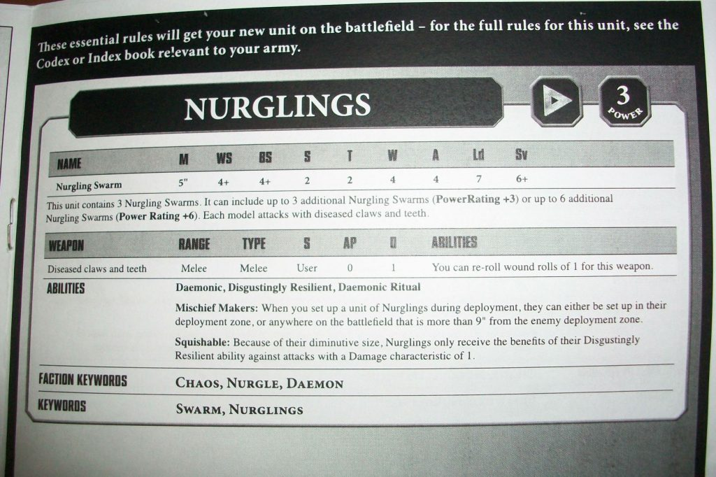 Nurglings 8th edition Datasheet and stats