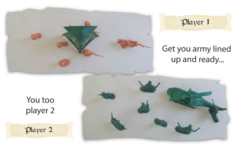 2 armies meet on the battle field - how to play a game with plastic army men!