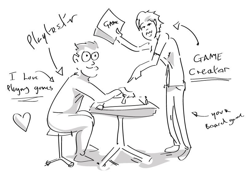 playtesters for my board game illustration of people play testing board game