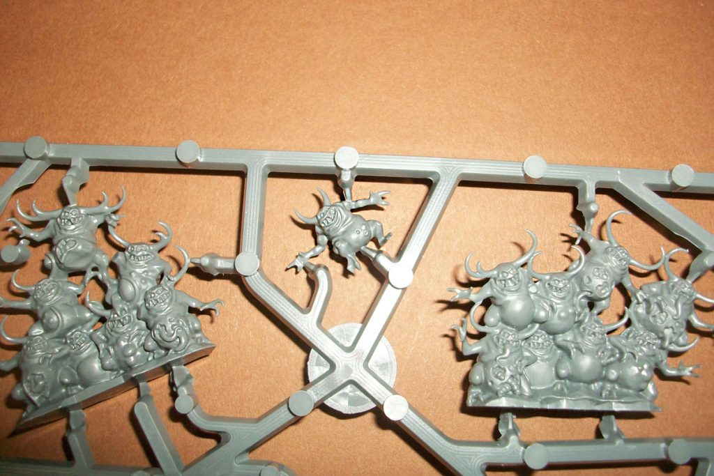 Close up of Nurglings on a box