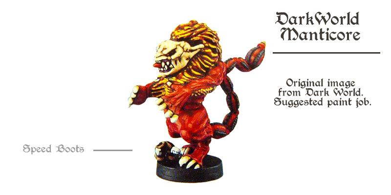 miniatures came in the dark world - the icon red Manticore (lion monster)